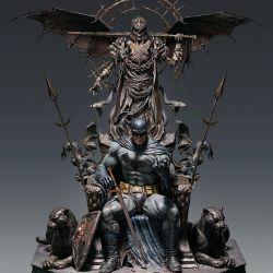 Batman Queen Studios statue on throne (DC Comics)