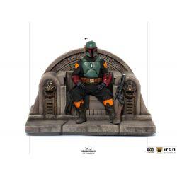 Figurines Boba Fett Iron Studios Deluxe Art Scale on throne (Star Wars : The Mandalorian)